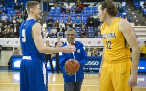 UBC President Arvind Gupta starts men's basketball game with ceremonial jump ball