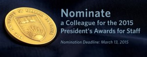 2015 President's Awards for Staff: Call for Nominations